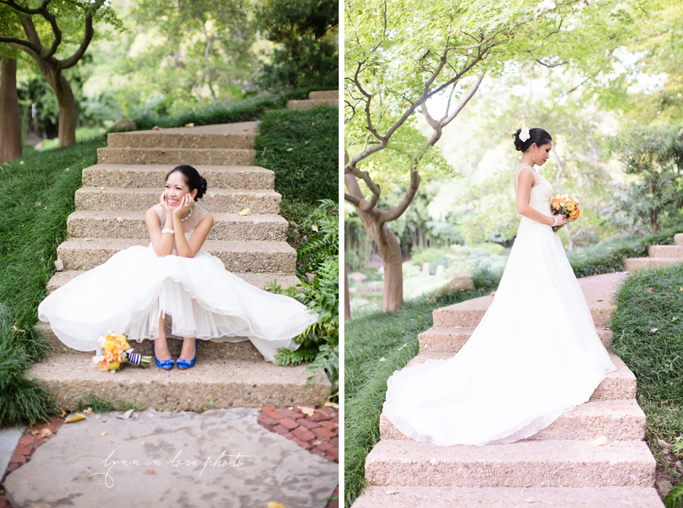 Lanchi todd blue orange owl wedding at japanese - Fort worth water gardens wedding ...