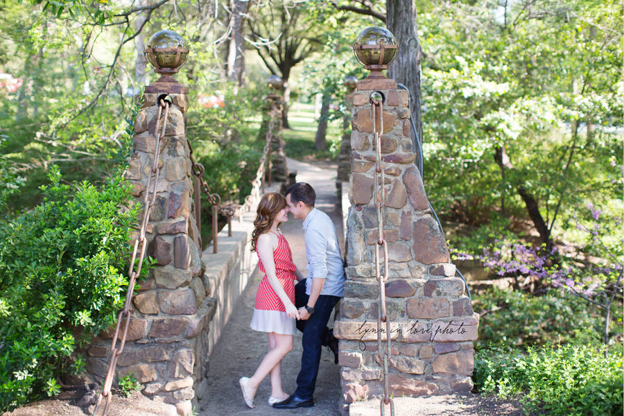 Romantic couple at the stone bridge for their love shoot in Highland Park by Lynn in Love Photo, Dallas and Houston Portrait photographer