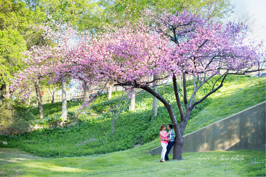 Ingrity and Michael's Anniversary Love Shoot in Highland Park with beautiful blossoming purple tree by Lynn in Love Photo, Dallas and Houston Portrait photographer
