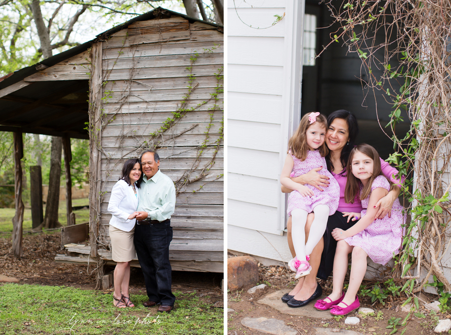 Patty and Cary's Family Outdoor Portraits with their daughter and granddaughters in pink at the Arlington studio by Lynn in Love Photo, Dallas and Houston Family Photographer
