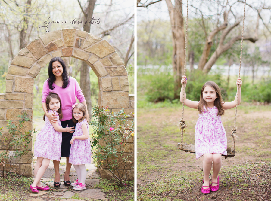 grandaughters in pink and swing, stone bridge at the Arlington studio by Lynn in Love Photo, Dallas and Houston Family Photographer