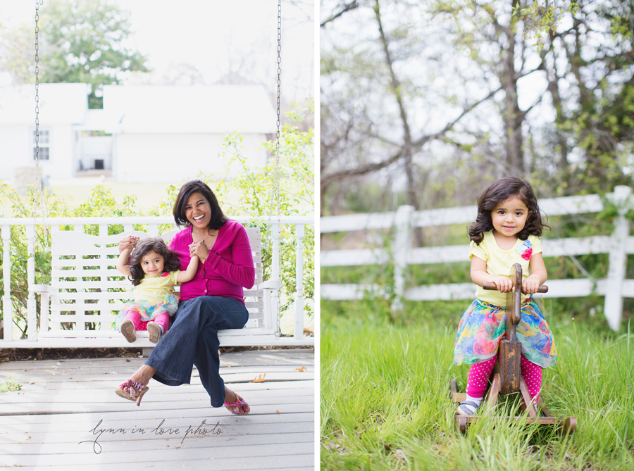 girl with her momma on porch swing and wooden horse  by Lynn in Love Photo, Dallas and Houston Child Photographer