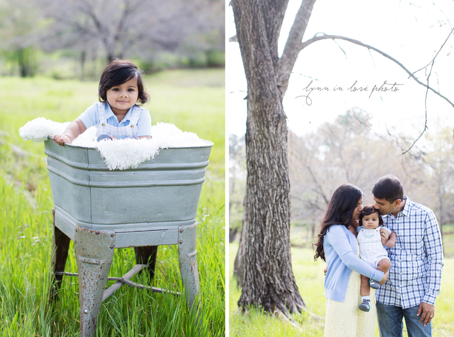 Varun, sweet 7 month Baby boy in spring outdoor portrait session at studio in a tin tub by Lynn in Love Photo, Dallas and Houston children photographer