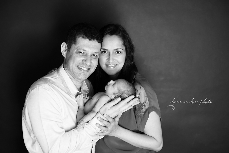 Ameya Newborn Session with parents in black and white by Lynn in Love Photo, Dallas and Houston Newborn Photographer