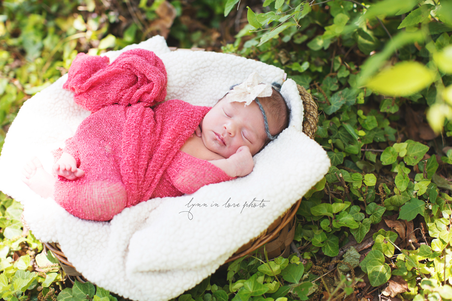 Ameya Newborn Session is pretty in pink outdoor shoot with basket by Lynn in Love Photo, Dallas and Houston Newborn Photographer