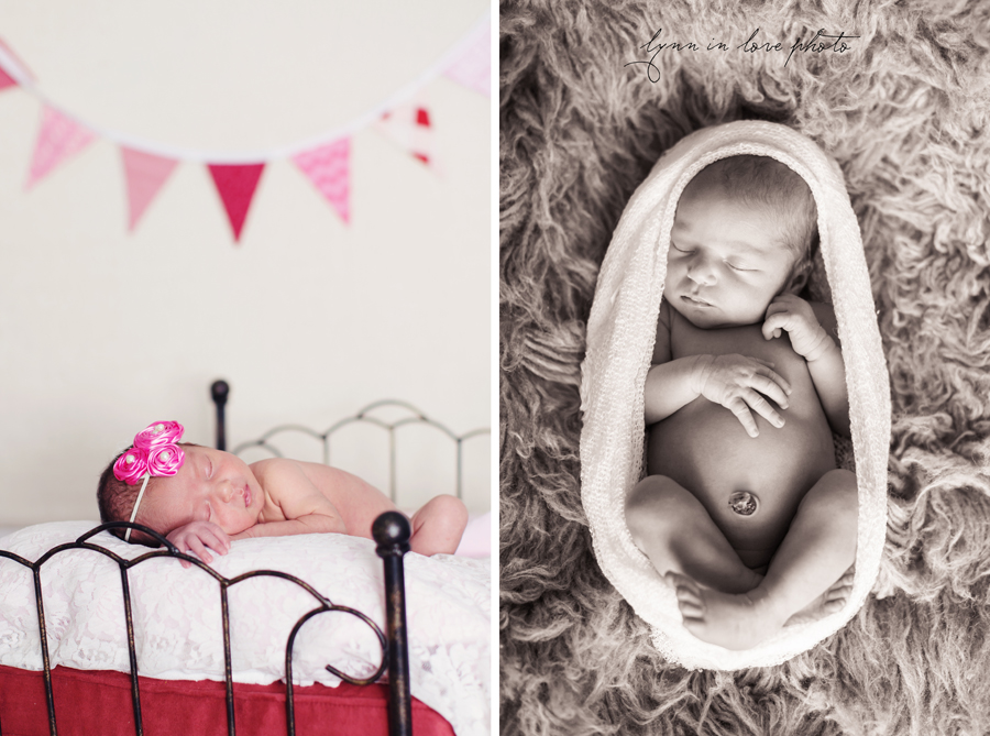 Ameya Newborn Session is pretty in pink with bed and pink bunting by Lynn in Love Photo, Dallas and Houston Newborn Photographer
