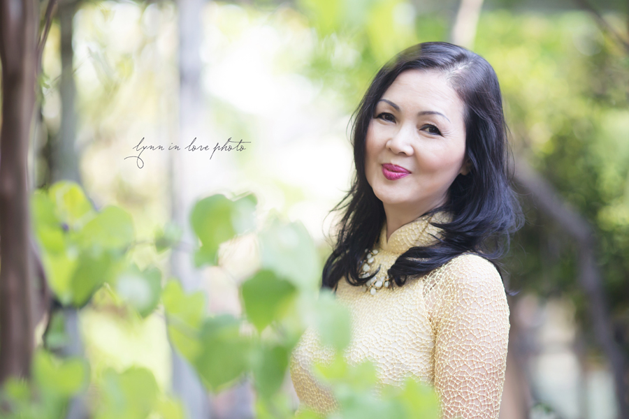 Vietnamese lady in Yellow Ao Dai in Rose Garden by Lynn in Love Photo, Dallas and Houston Portrait Photographer
