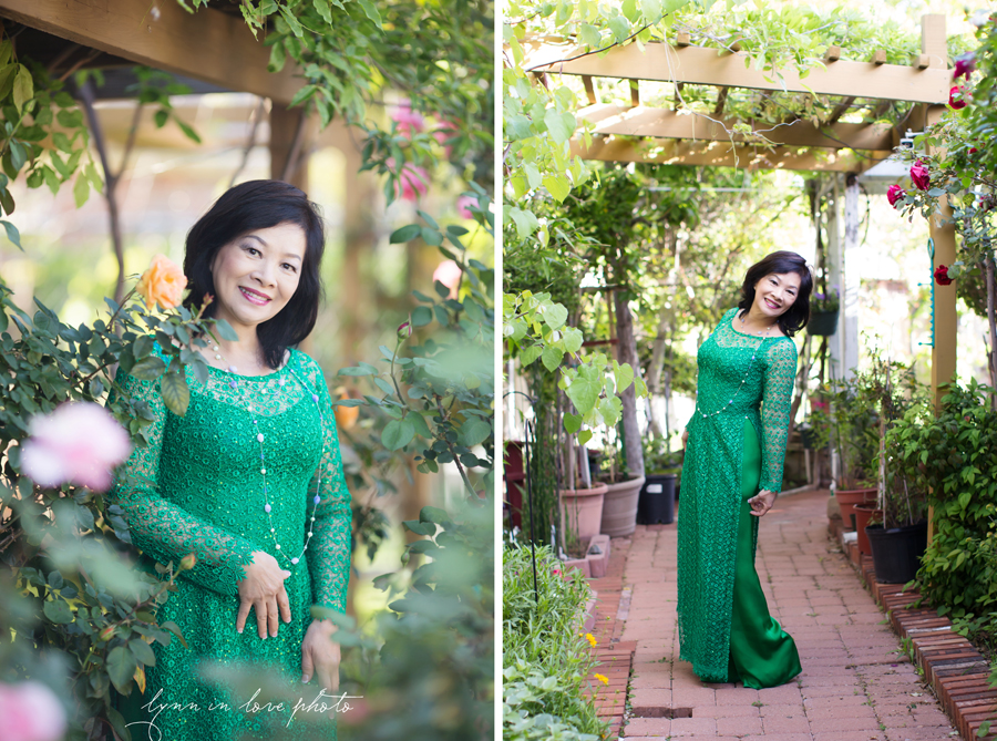 Vietnamese lady in Green Lace Ao Dai in Rose Garden by Lynn in Love Photo, Dallas and Houston Portrait Photographer