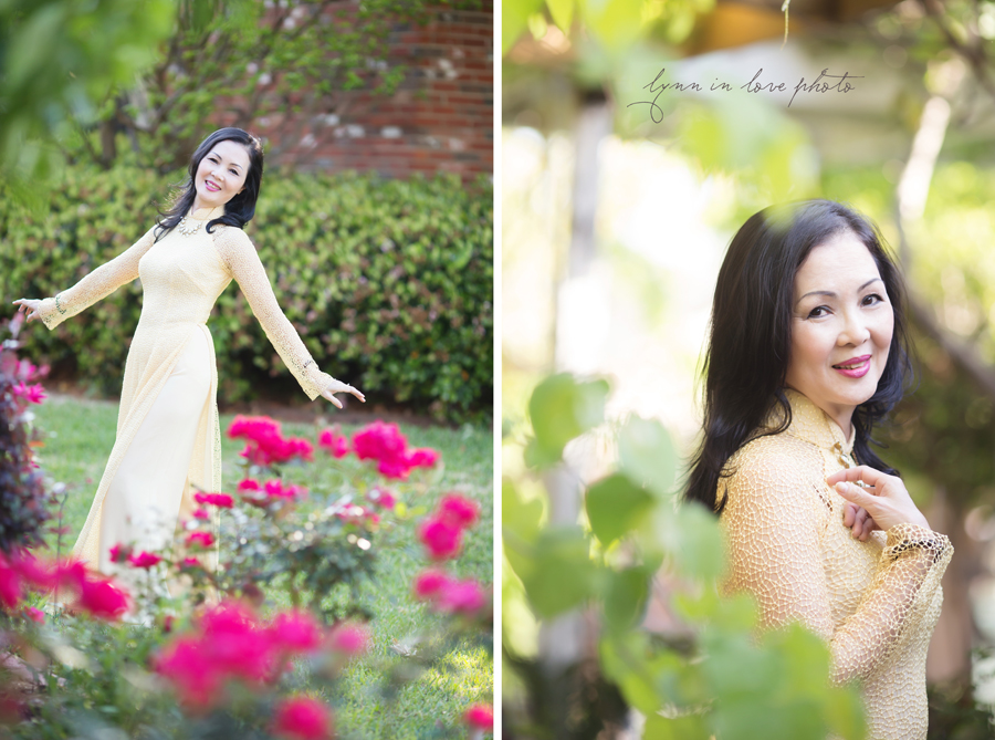 Vietnamese lady in beautiful yellow Lace Ao Dai in Rose Garden by Lynn in Love Photo, Dallas and Houston Portrait Photographer