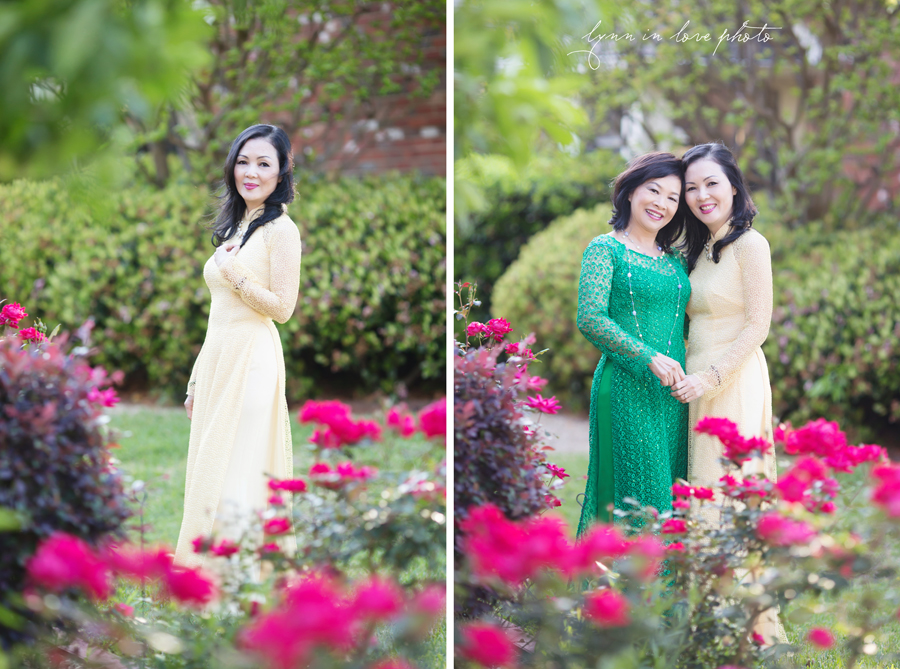 Custom made Beautiful Vietnamese Yellow and Green Lace Ao Dai in Rose Garden by Lynn in Love Photo, Dallas and Houston Portrait Photographer