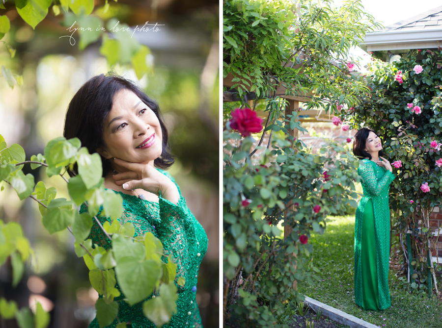 Custom made Beautiful Vietnamese Green Lace Ao Dai in Rose Garden by Lynn in Love Photo, Dallas and Houston Portrait Photographer