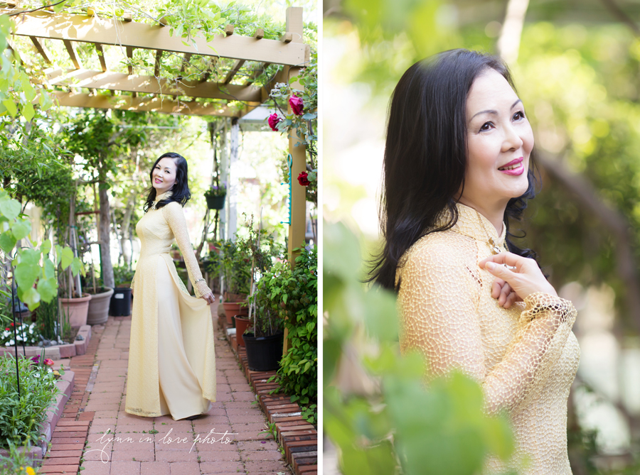 Custom made Beautiful Vietnamese Yellow Lace Ao Dai in Rose Garden by Lynn in Love Photo, Dallas and Houston Portrait Photographer