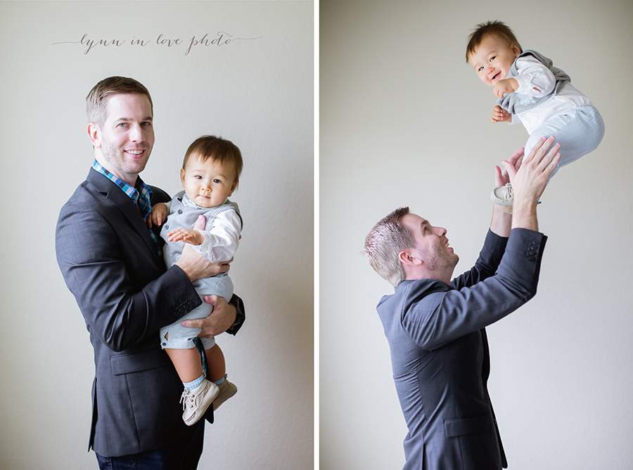 1 year old session loves his dad in blue outfits by Lynn in Love Photo, Houston Baby Photographer