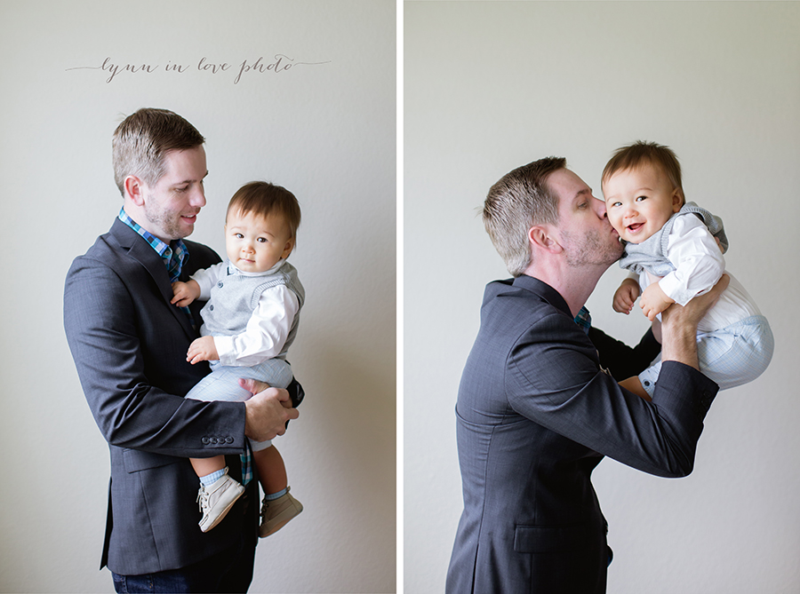 1 year old session loves his father in blue outfits by Lynn in Love Photo, Houston Baby Photographer