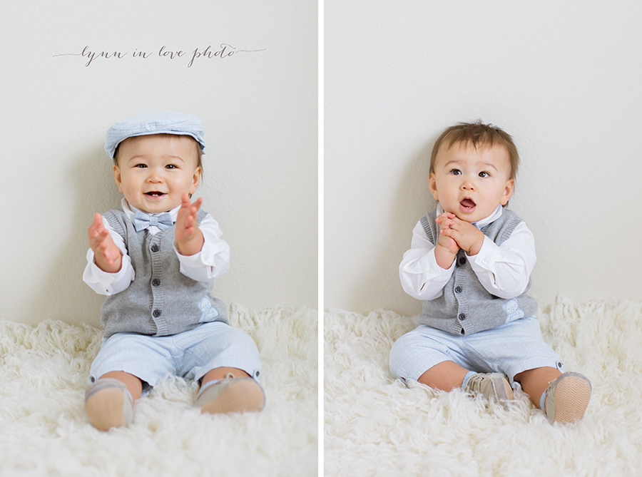 Cute 1 year old baby boy with Janey and Jack outfit on white rug by Lynn in Love Photo, Houston Baby Photographer