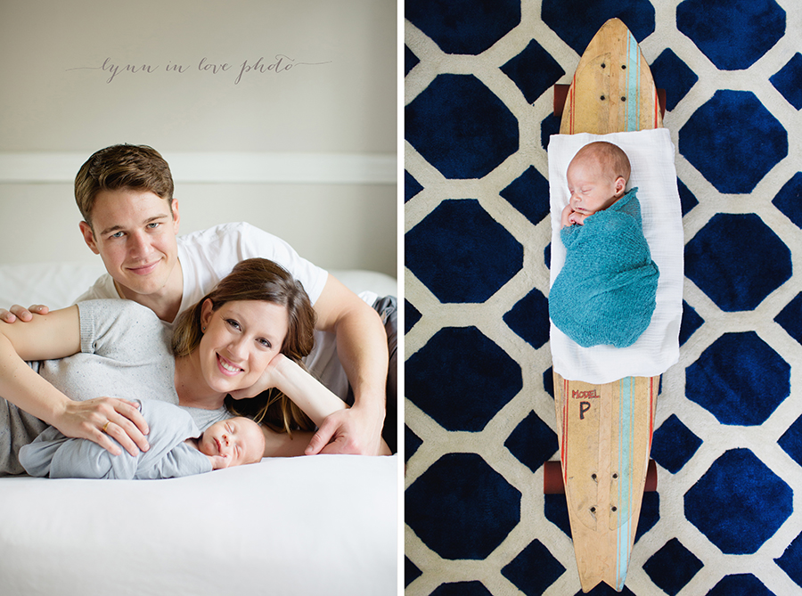 Otto newborn session with surfboard by Lynn in Love Photo, Houston newborn photographer