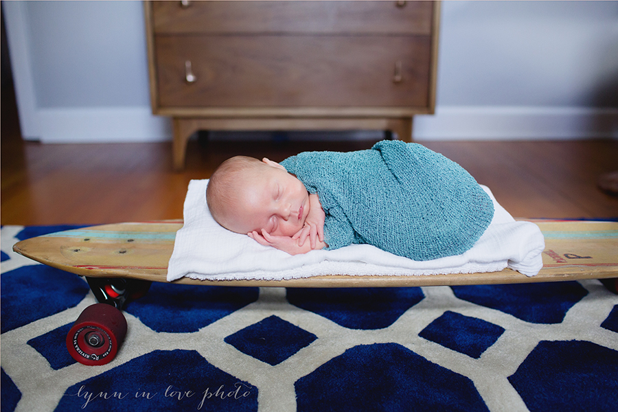 Otto newborn session on surfboard by Lynn in Love Photo, Houston newborn photographer