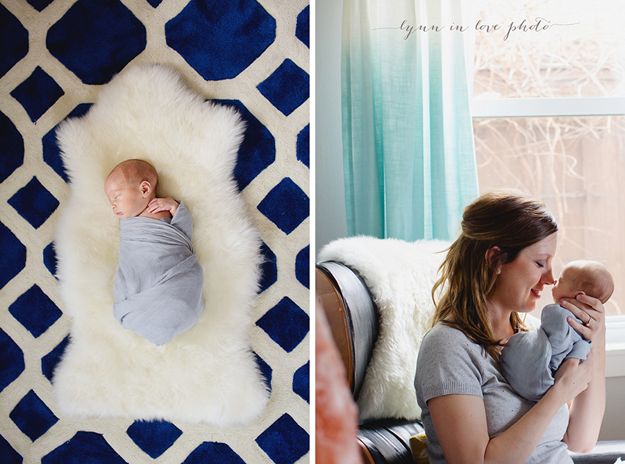 Otto newborn session on blue rug by Lynn in Love Photo, Houston newborn photographer