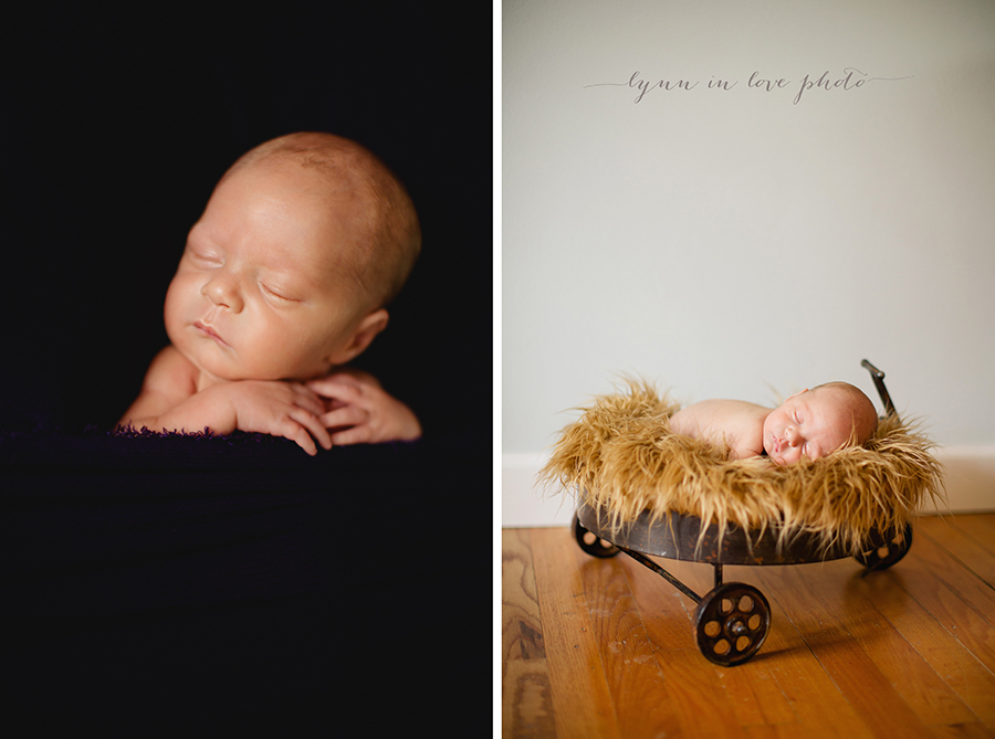 Otto newborn session with brown wagon by Lynn in Love Photo, Houston newborn photographer