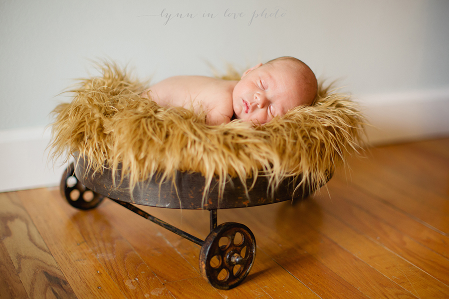 Otto newborn session with brown wagonby Lynn in Love Photo, Houston newborn photographer